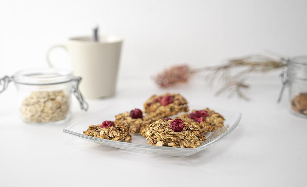 Himbeer Haferflocken Cookies – ohne Zucker